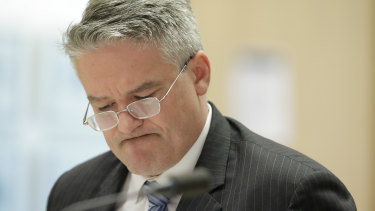 Finance Minister Mathias Cormann answers questions during Senate estimates.