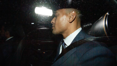 Tainted image: Israel Folau leaves Rugby NSW following the code of conduct hearing in Sydney on Saturday.