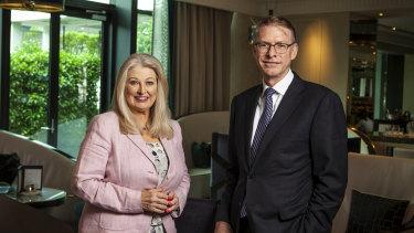 Crown Resorts chairperson Helen Coonan with Crown boss Ken Barton.