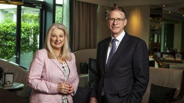 Crown Resorts chairman Helen Coonan with Crown boss Ken Barton.