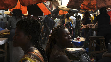 Women in the streets of the capital, Kinshasa.