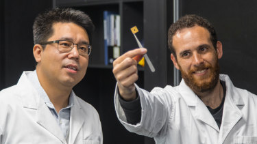 Dongchen Qi (left) with QUT student David Sommers and one of the team's diamond circuits.