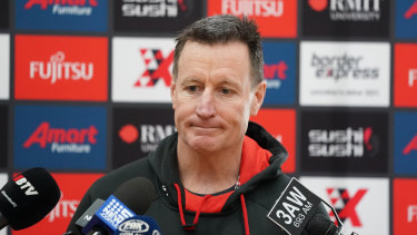 Essendon coach John Worsfold fronts the media on Wednesday.