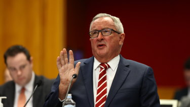 NSW Health Minister Brad Hazzard at a budget estimates hearing last week.