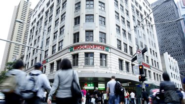 The well-known Woolworths building on the corner of Park and George streets.