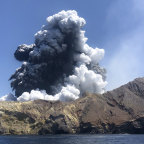 Tourist Lillani Hopkins took this photo of the eruption as she travelled back on a tour boat.