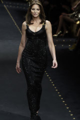 Stephanie Seymour on the catwalk for Versace during Milan Fashion Week.