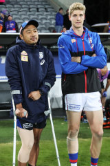 The Western Bulldogs are taking a cautious approach with the return of Tim English (right) from concussion.