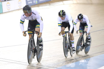 Matthew Richardson, Nathan Hart and Thomas Cornish during the men's team sprint.