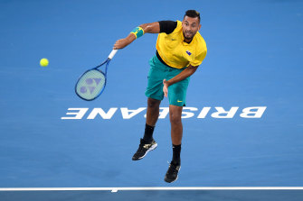 Nick Kyrgios serves against Jan-Lennard Struff on day one of the ATP Cup at Pat Rafter Arena in Brisbane.