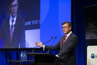 Federal Education Minister Alan Tudge addresses The Age Schools Summit.