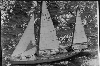 Chichester's ketch Gipsy Moth IV, pictured off Botany Bay only five miles from Sydney.