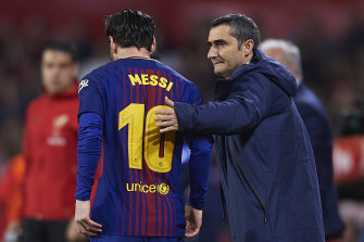 Former Barcelona coach Ernesto Valverde with superstar Lionel Messi.