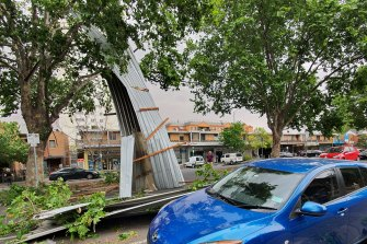 A roof was ripped off in wild weather in North Melbourne earlier today.