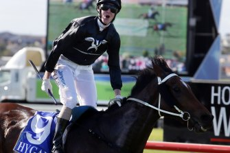 Winners are grinners: Cats Fun's biggest victory was the 2013 Brierly in Warrnambool. He was ridden that day by Jarrod McLean's brother Brad.