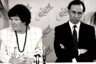 The death is announced.... The Premier, Joan Kirner, and the federal Treasurer, Mr Keating, disclose the State Bank's sale at yesterday's news conference.