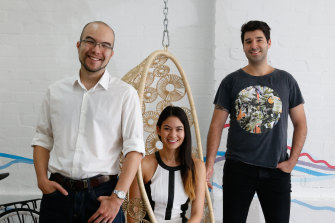 Canva co-founders Cameron Adams (left), Melanie Perkins and Cliff Obrecht.