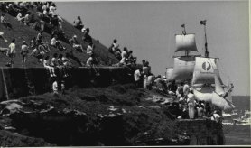 Aboriginal protesters at La Perouse as The Bounty heads into Botany Bay on January 18, 1988.