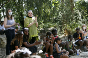 Dr Lois Peeler (in yellow) during a Culture Day at Worawa Aboriginal College in Healesville, where she is principal.
