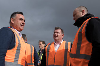 Deputy NSW Premier John Barilaro (left) with Dubbo MP Dugald Saunders and Energy and Environment Minister Matt Kean (right), at the South Keswick solar farm near Dubbo.