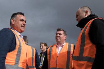 Deputy NSW Premier John Barilaro (left) with Dubbo MP Dugald Saunders and Energy and  Environment Minister Matt Kean (right), at the South Keswick solar farm near Dubbo.