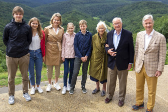 Royal inner circle, from left, Prince Gabriel, Princess Elisabeth, Queen Mathilde, Princess Eleonore, Prince Emmanuel, former queen Paola, former king Albert II and King Philippe during a royal visit to the Giant's Tomb in Bouillon, Belgium, in June.