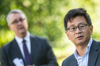 Victoria's Deputy Chief Health Officer Professor Allen Cheng addresses the media.