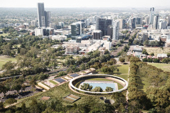 The winning design for the new Parramatta Pool was by a consortium of Andrew Burgess Architects, Grimshaw Architects and McGregor Coxall.