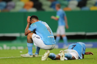 Dejected City pair Gabriel Jesus and Raheem Sterling after the loss to Lyon.