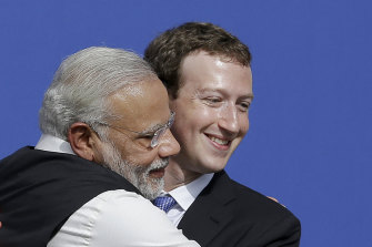 Happier times: Mark Zuckerberg with Narendra Modi in 2015.