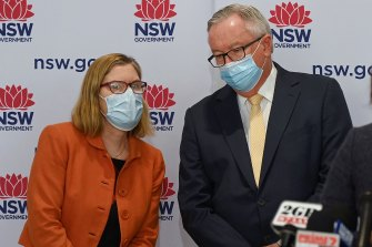 Chief Health Office Kerry Chant and Health Minister Brad Hazzard pictured at an earlier COVID-19 update.