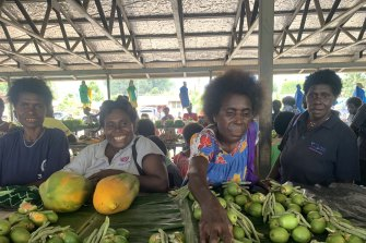 Women in a market at Bougainville earlier this year.