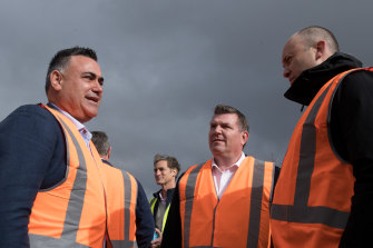 Policy stand-off: Deputy NSW Premier John Barilaro (left) with Dubbo MP Dugald Saunders and Energy and Environment Minister Matt Kean (right) visit a solar farm near Dubbo in June.