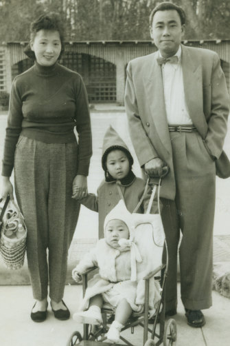 Lindy Lee and family, Brisbane, 1957, left to right: mother Lily Lee Kam Lan, Lindy Lee, sister Joyce Lee-Horn (nee Lee) and father Phillip Lee Kam Chee.