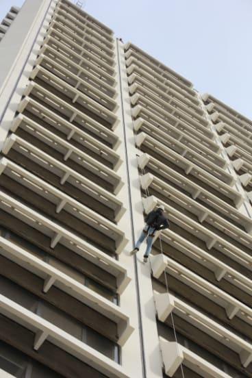 An abseiler tests outthe 90 metre Lovett Tower descent.