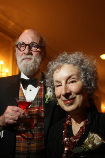 Margaret Atwood with her husband, novelist Graeme Gibson, who has relatives in Queensland.