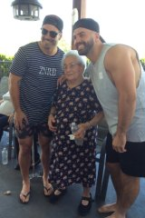 James Tedesco with his brother Matt and his great grandmother, Teresa Papandrea.
