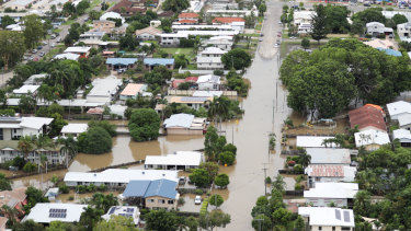 Houses inundated by the flood in Townsville.