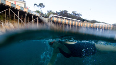 A winter swimmer at Wylie's Baths in Coogee.