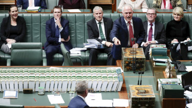 Prime Minister Malcolm Turnbull and Opposition Leader Bill Shorten during Question Time