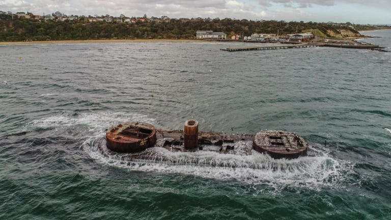 The wreck of the HMVS Cerberus on Tuesday.