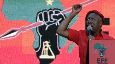 The leader of the Economic Freedom Fighters (EFF) party, Julius Malema, at his party's final rally at Orlando Stadium in Soweto on Sunday.