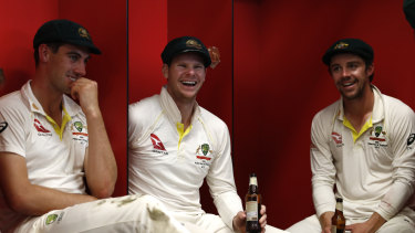 Pat Cummins (left), Steve Smith and Travis Head celebrate Australia's retention of the Ashes in September.