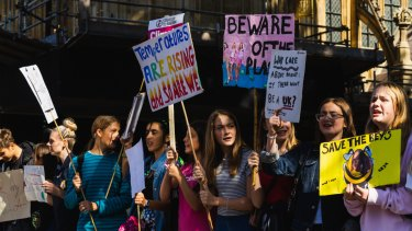Students join the global strike for climate action in London on Friday.