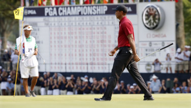 So close: Woods walks off the 18th at last week's PGA Championship.