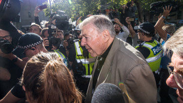 Cardinal George Pell walks into court on Wednesday.