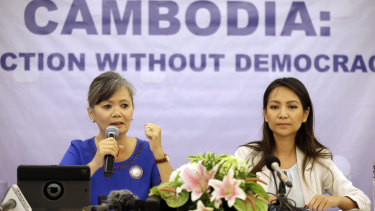 Vice-president of the Cambodia National Rescue Party (CNRP), Mu Sochua, left, speaks at a press conference with Monovithya Kem, CNRP Deputy Director for Foreign Affairs, in Jakarta on Monday.