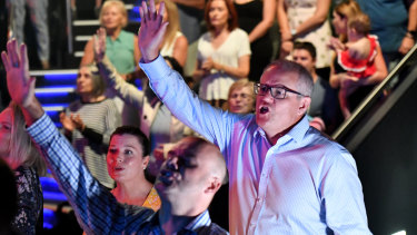 Prime Minister Scott Morrison at Horizon Church on Easter Sunday.