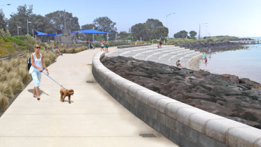 The foreshore masterplan for North Road  includes a concrete terrace to guard against erosion.