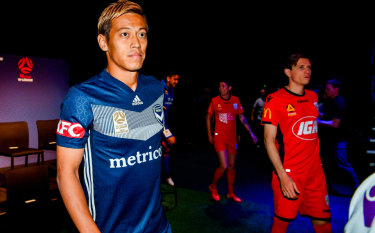 Big attraction: Keisuke Honda at the A-League season launch in Sydney on Monday.